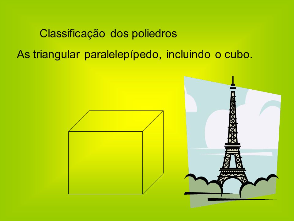 Classificação dos poliedros As triangular paralelepípedo, incluindo o cubo.