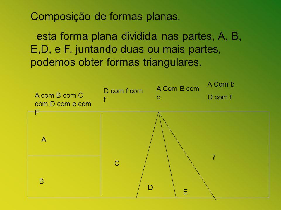 Composição de formas planas. esta forma plana dividida nas partes, A, B, E,D, e F. juntando duas ou mais partes, podemos obter formas triangulares. A