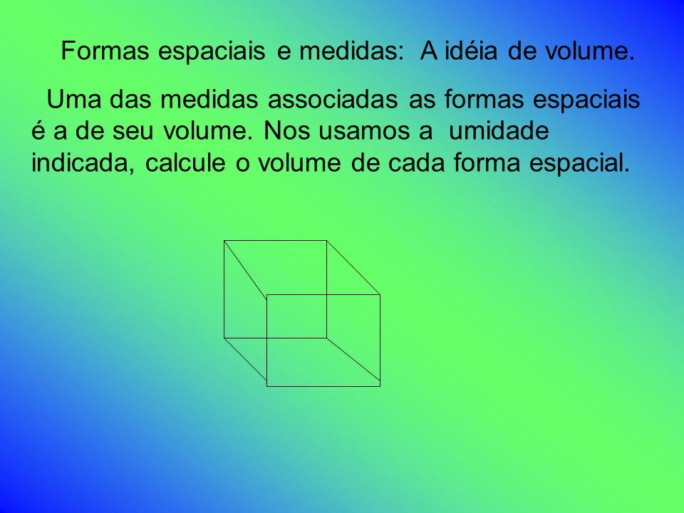 Formas espaciais e medidas: A idéia de volume. Uma das medidas associadas as formas espaciais é a de seu volume. Nos usamos a umidade indicada, calcul