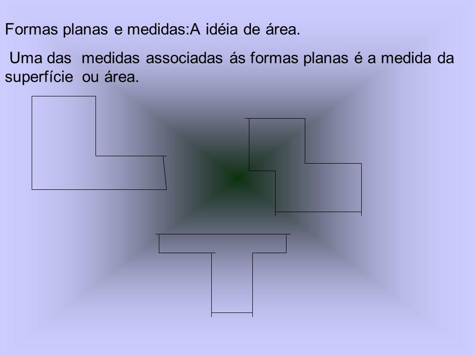 Formas planas e medidas:A idéia de área. Uma das medidas associadas ás formas planas é a medida da superfície ou área.