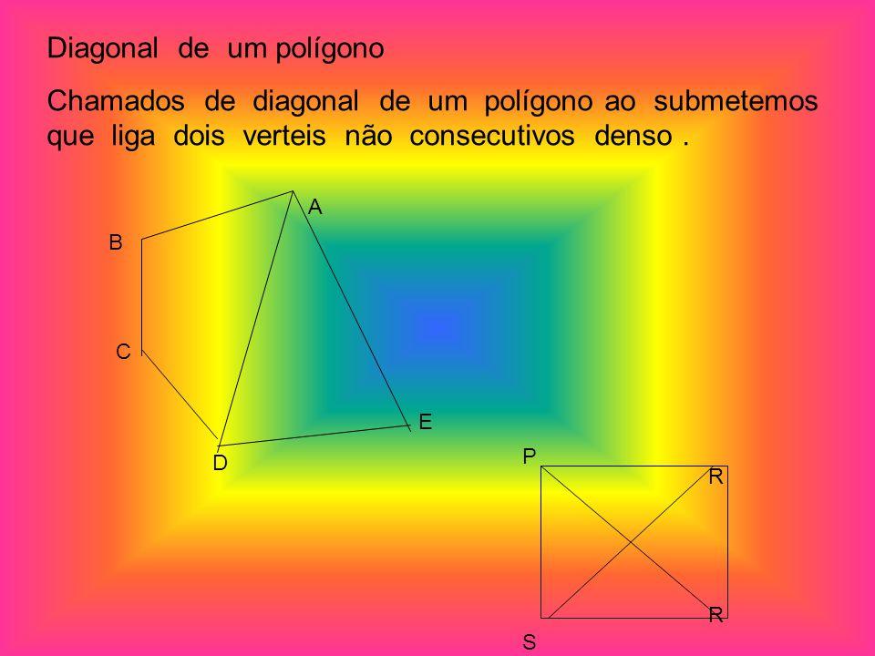 Diagonal de um polígono Chamados de diagonal de um polígono ao submetemos que liga dois verteis não consecutivos denso. A E D C B P R S R