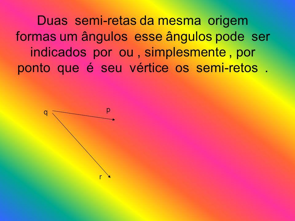 Duas semi-retas da mesma origem formas um ângulos esse ângulos pode ser indicados por ou, simplesmente, por ponto que é seu vértice os semi-retos. q r