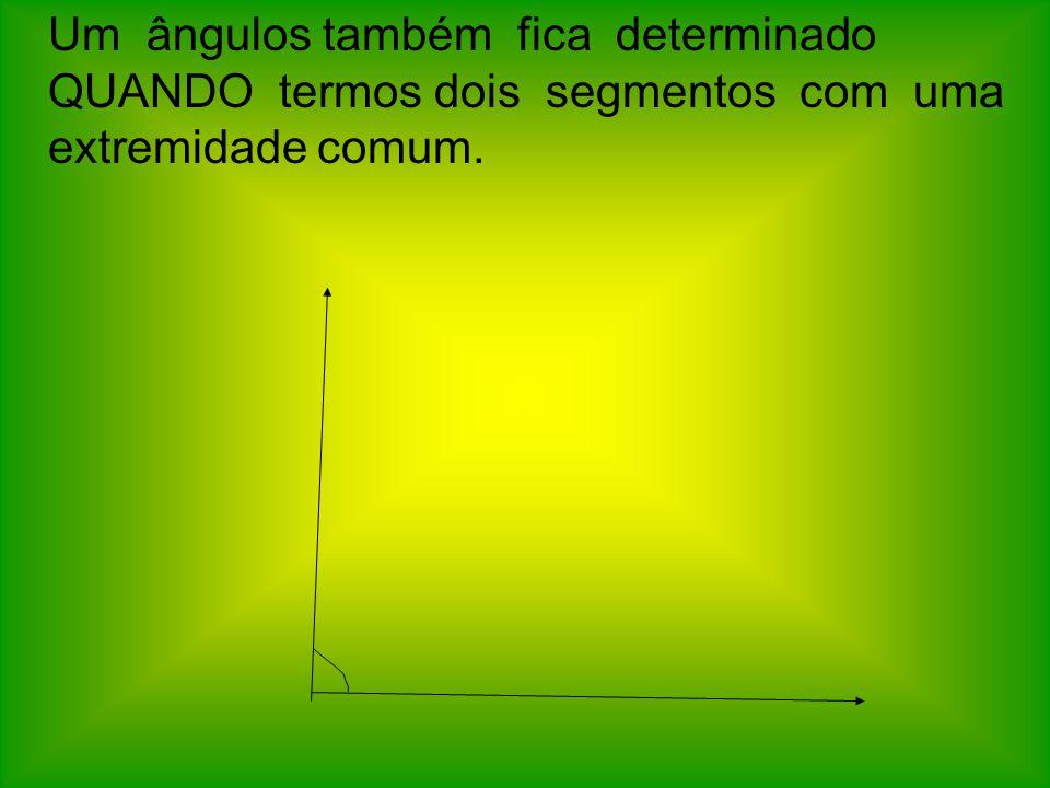Um ângulos também fica determinado QUANDO termos dois segmentos com uma extremidade comum.