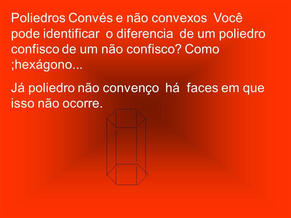 Poliedros Convés e não convexos Você pode identificar o diferencia de um poliedro confisco de um não confisco? Como ;hexágono... Já poliedro não conve