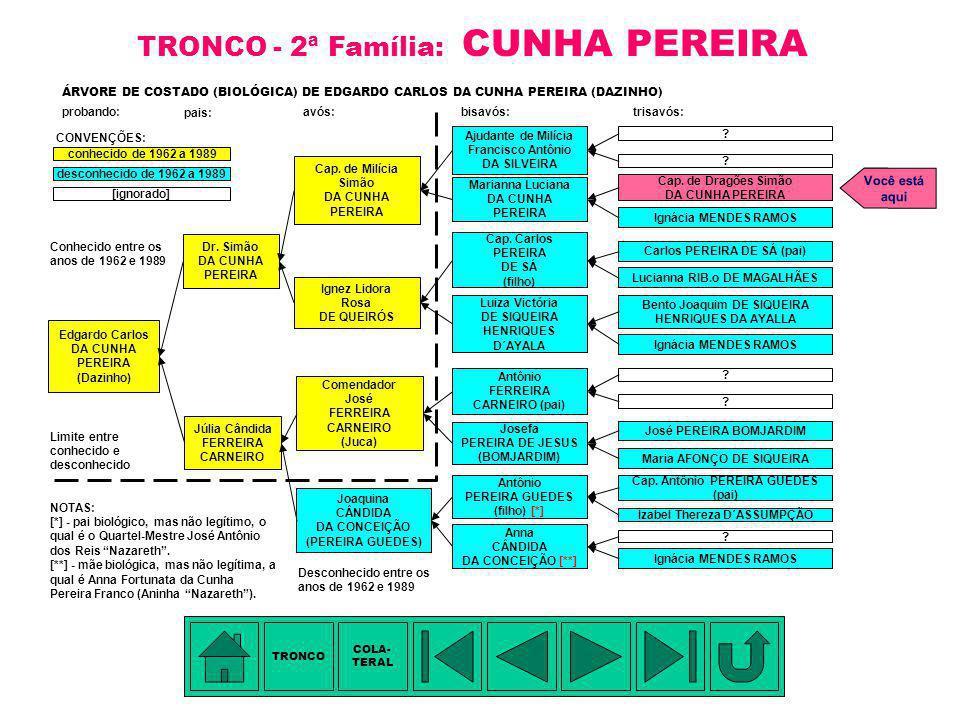 TÁBUA DE PARENTESCO: 1. Francisco Antônio da Silveira - tetravô 2. Capitão de Milícia Simão da Cunha Pereira (da Silveira) - trisavô 3. Dr. (Médico) S