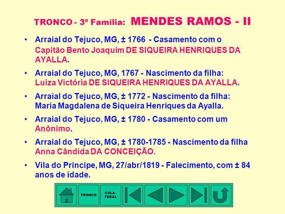 TRONCO - 3ª Família: MENDES RAMOS - I Membro mais antigo conhecido: Ignácia MENDES RAMOS. Arraial do Tejuco, MG, ± 1735-1737 - Nascimento. Arraial do