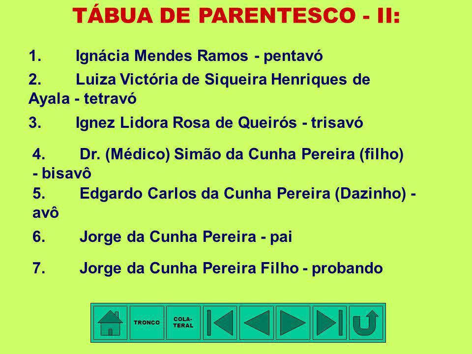 TÁBUA DE PARENTESCO - I: 1.Ignácia Mendes Ramos - pentavó 2.Marianna Luciana da Cunha Pereira - tetravó 3.Capitão de Milícia Simão da Cunha Pereira (d