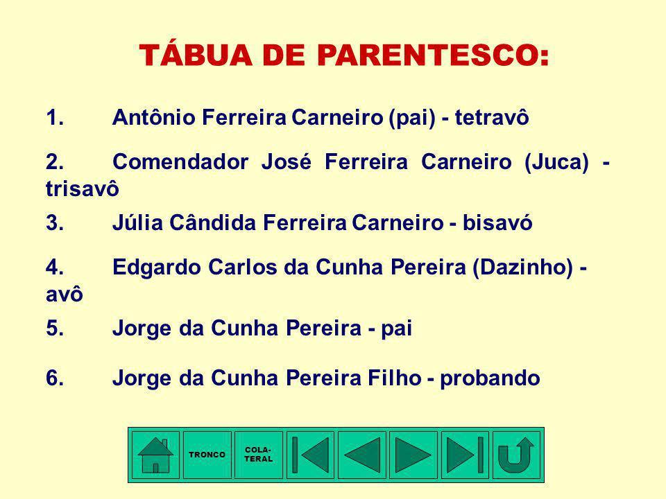 TRONCO - 7ª Família: FERREIRA CARNEIRO Membro mais antigo conhecido: Antônio (José) FERREIRA CARNEIRO (pai). Portugal ?, ± 1754 - Nascimento. Arraial