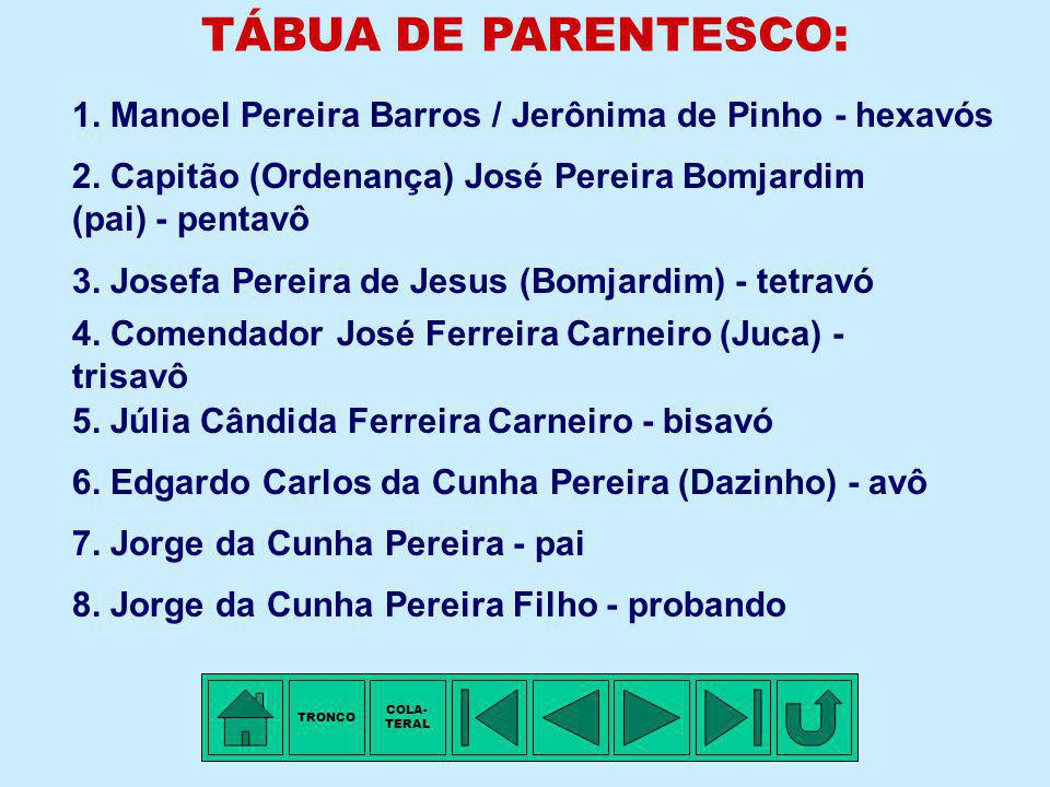TRONCO - 8ª Família: PEREIRA BOMJARDIM Membro mais antigo conhecido: Capitão (Ordenança) José PEREIRA BOMJARDIM, filho de Manoel PEREIRA BARROS e de J