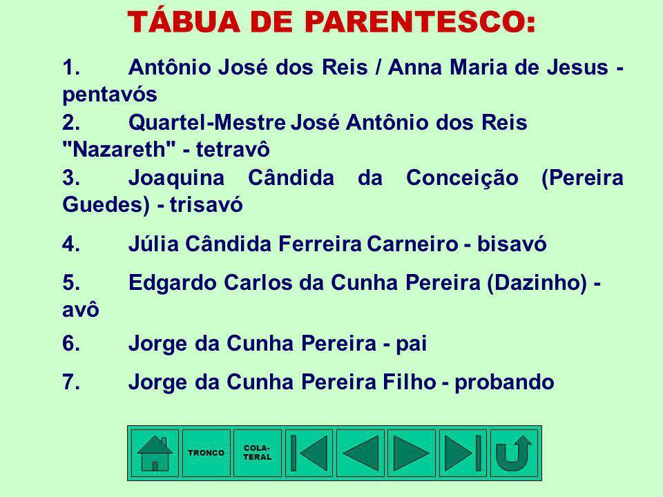 TRONCO - 10ª Família: REIS Membro mais antigo conhecido: Antônio José DOS REIS. Vila de Chaves, província de Trás-os-Montes, Portugal, ± 1700- 1710 -