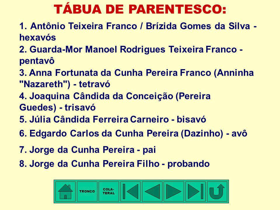 TRONCO - 11ª Família: TEIXEIRA FRANCO Membro mais antigo conhecido: Antônio TEIXEIRA FRANCO. Portugal ?, ± 1700-1710 - Nascimento. Freguesia de N. Sra