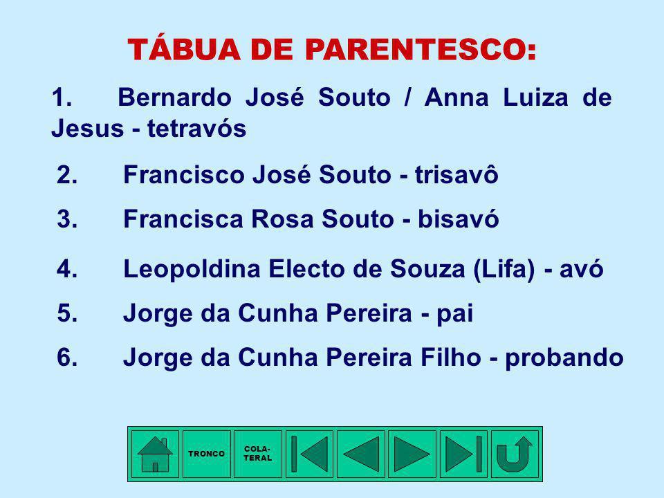 TRONCO - 13ª Família: SOUTO Membro mais antigo conhecido: Bernardo José SOUTO. Arraial de São Gonçalo do Rio Preto, MG, ±1780 - Nascimento. Arraial de