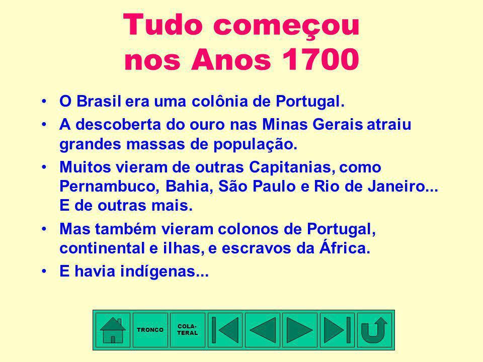 Tudo começou nos Anos 1700 O Brasil era uma colônia de Portugal.