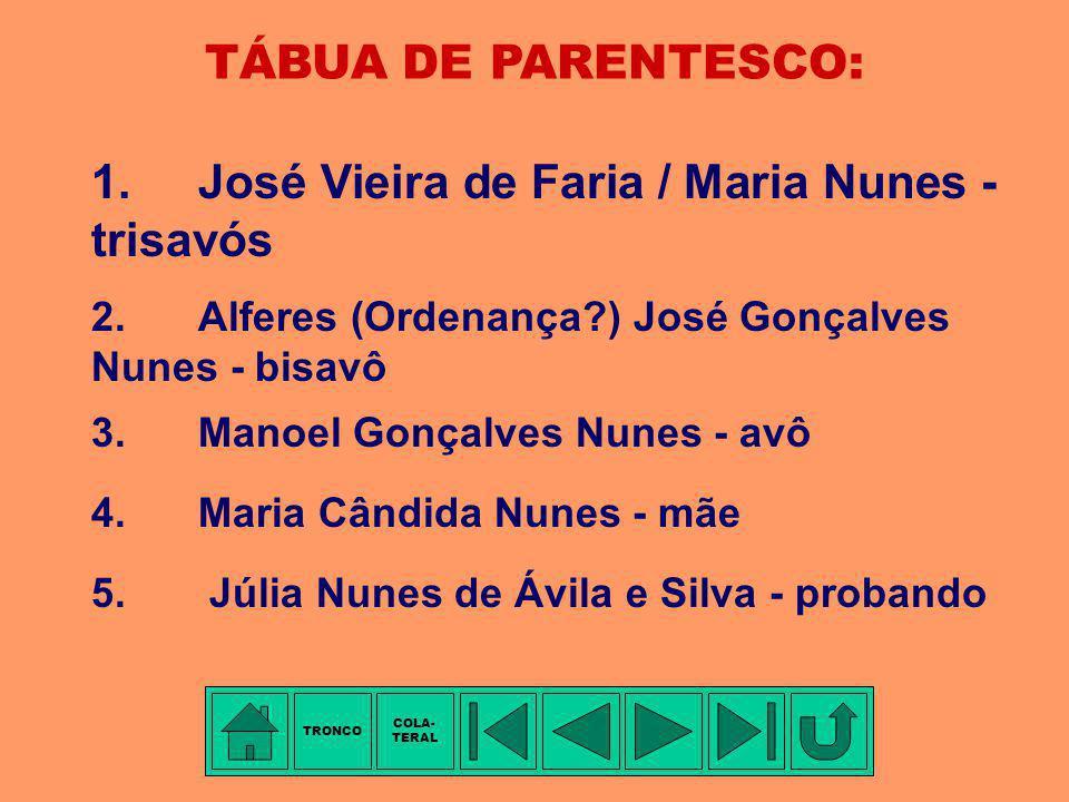 COLATERAL - 4ª Família: GONÇALVES NUNES Membro mais antigo conhecido: Alferes (Ordenança?) José GONÇALVES NUNES (pai), filho de José VIEIRA DE FARIA e