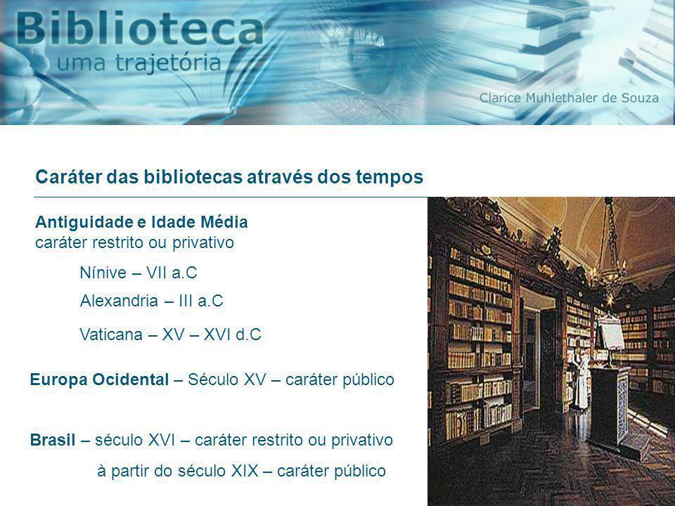 Caráter das bibliotecas através dos tempos Brasil – século XVI – caráter restrito ou privativo à partir do século XIX – caráter público Antiguidade e