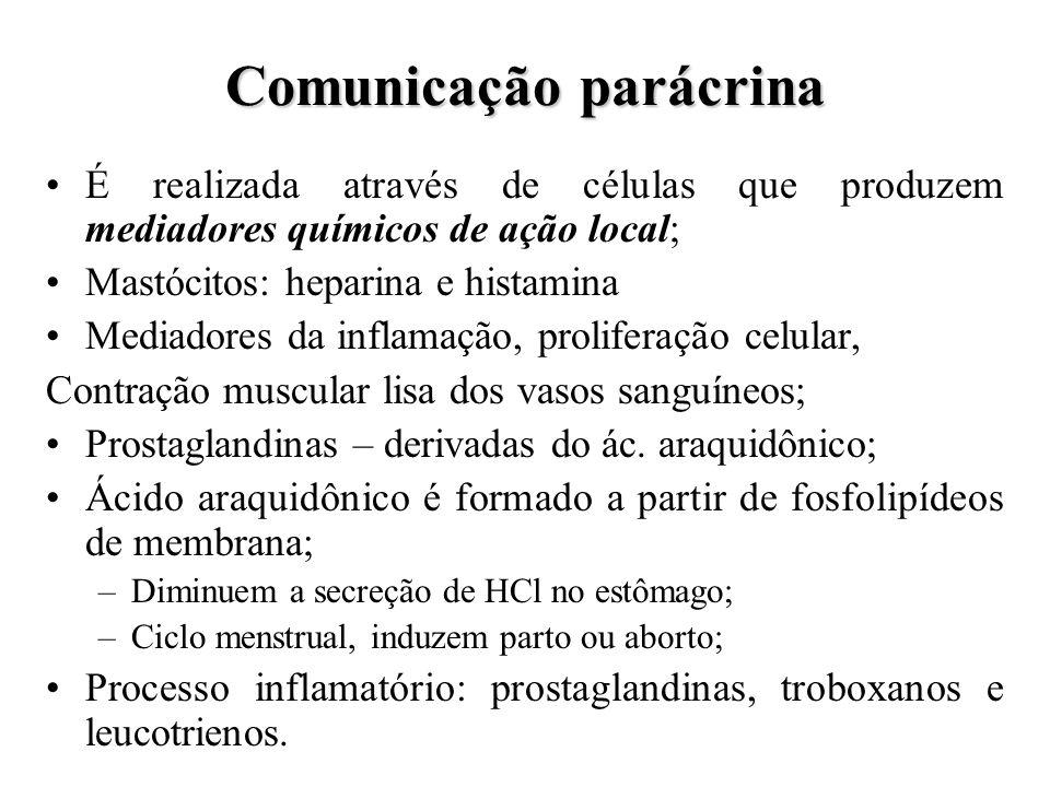 Comunicação parácrina É realizada através de células que produzem mediadores químicos de ação local; Mastócitos: heparina e histamina Mediadores da in