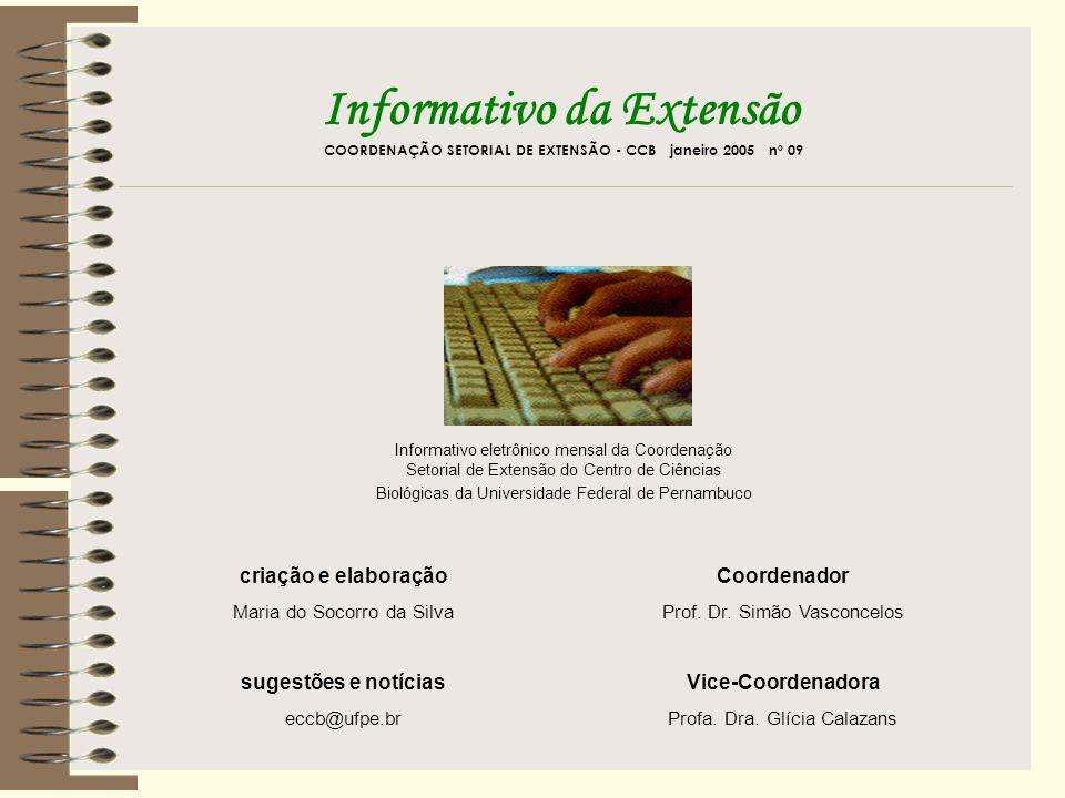 extensao@proex.ufu.br Informativo da Extensão COORDENAÇÃO SETORIAL DE EXTENSÃO - CCB janeiro 2005 nº 09 p u b l i q u e revexten@reitoria.unesp.br revistaextensao@pr5.ufrj.br gilson@daex.ufsc.br revistainteragir@vm.uff.br estacao@uel.br integracao@usjt.br Clique na capa da revista e conheça as normas para publicação ou envie um e-mail para o endereço eletrônico mostrado abaixo de cada figura.