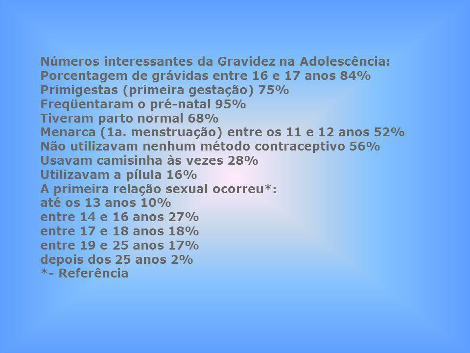 Números interessantes da Gravidez na Adolescência: Porcentagem de grávidas entre 16 e 17 anos 84% Primigestas (primeira gestação) 75% Freqüentaram o p