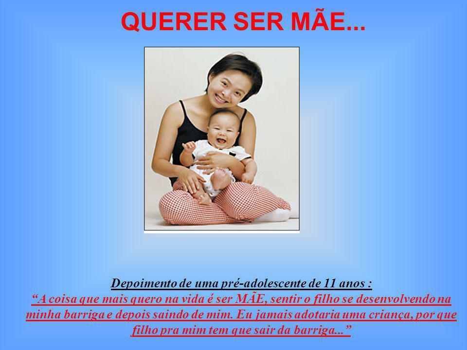 Números interessantes da Gravidez na Adolescência: Porcentagem de grávidas entre 16 e 17 anos 84% Primigestas (primeira gestação) 75% Freqüentaram o pré-natal 95% Tiveram parto normal 68% Menarca (1a.