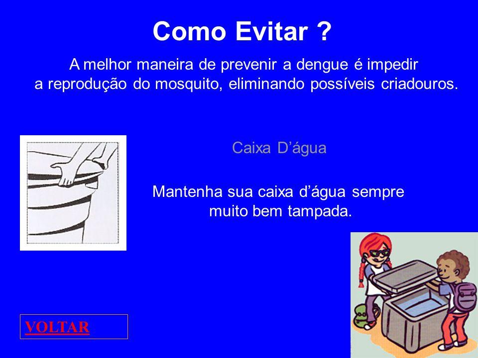 Como Evitar ? A melhor maneira de prevenir a dengue é impedir a reprodução do mosquito, eliminando possíveis criadouros. Caixa Dágua Mantenha sua caix