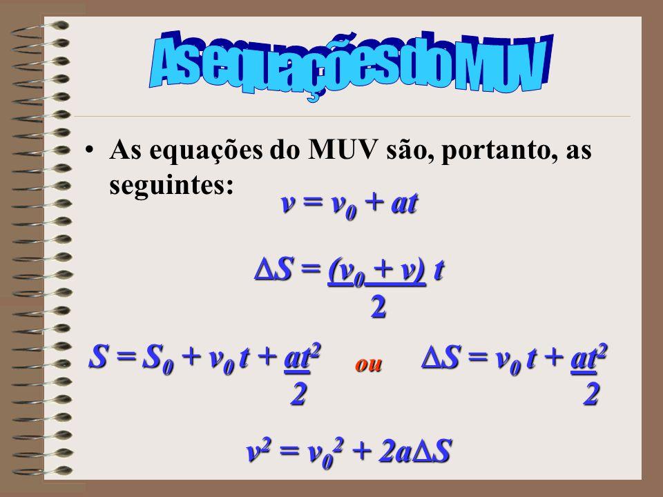 As equações do MUV são, portanto, as seguintes: v = v 0 + at S = (v 0 + v) t S = (v 0 + v) t2 S = v 0 t + at 2 S = v 0 t + at 22 v 2 = v 0 2 + 2a S S
