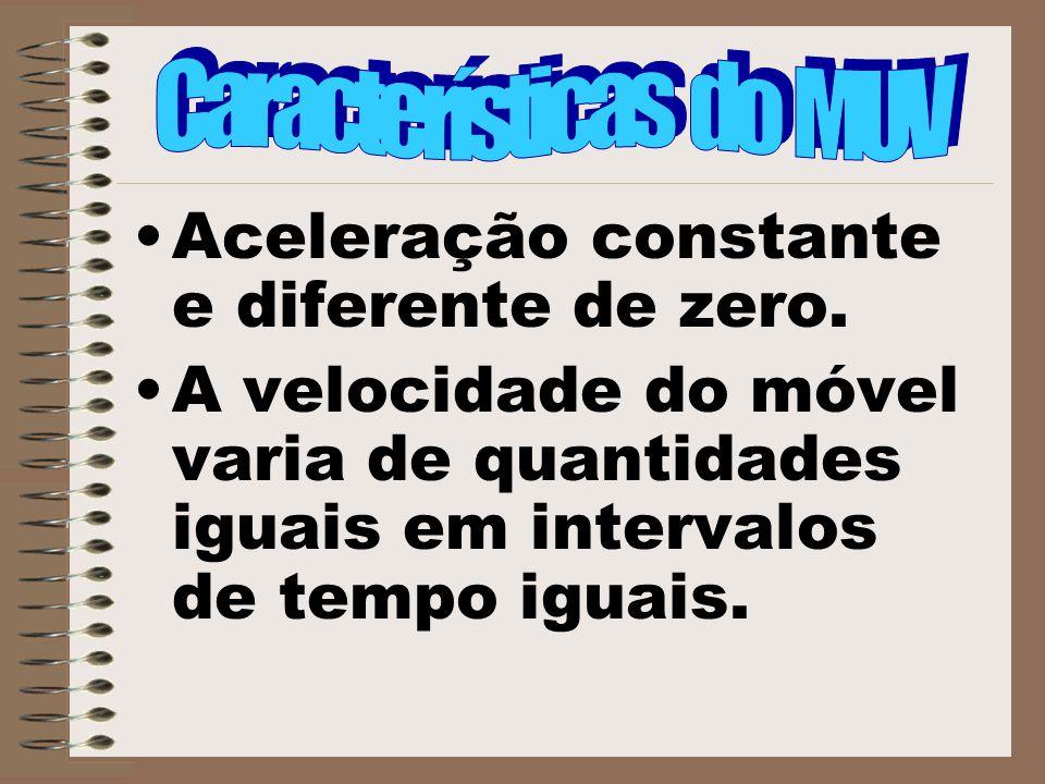 Aceleração constante e diferente de zero. A velocidade do móvel varia de quantidades iguais em intervalos de tempo iguais.
