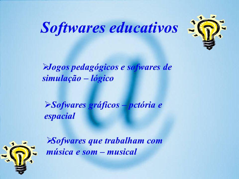 Softwares educativos Jogos pedagógicos e sofwares de simulação – lógico Sofwares gráficos – pctória e espacial Sofwares que trabalham com música e som