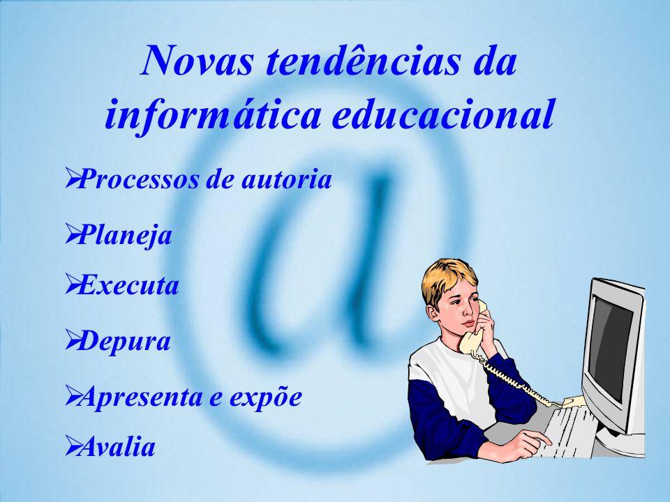 Novas tendências da informática educacional Processos de autoria Planeja Executa Depura Apresenta e expõe Avalia