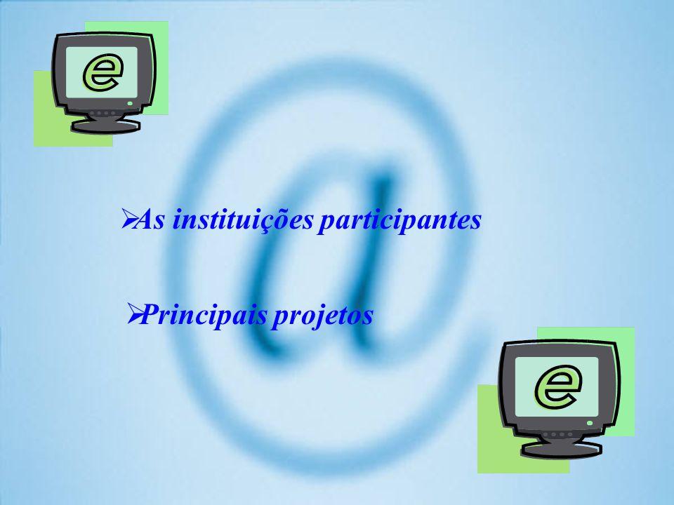As instituições participantes Principais projetos