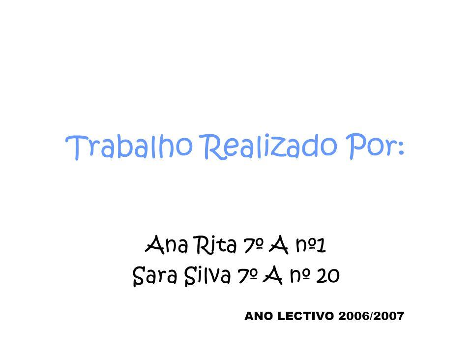 Trabalho Realizado Por: Ana Rita 7º A nº1 Sara Silva 7º A nº 20 ANO LECTIVO 2006/2007
