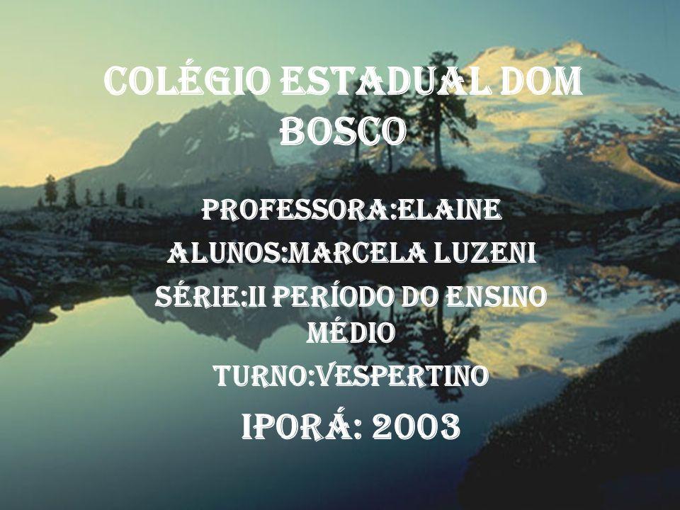 Colégio Estadual Dom Bosco Professora:Elaine Alunos:Marcela Luzeni Série:II Período do Ensino Médio Turno:Vespertino Iporá: 2003