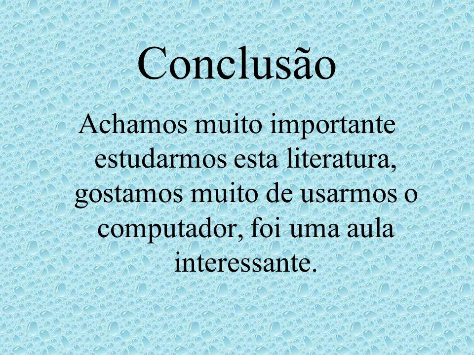 Conclusão Achamos muito importante estudarmos esta literatura, gostamos muito de usarmos o computador, foi uma aula interessante.