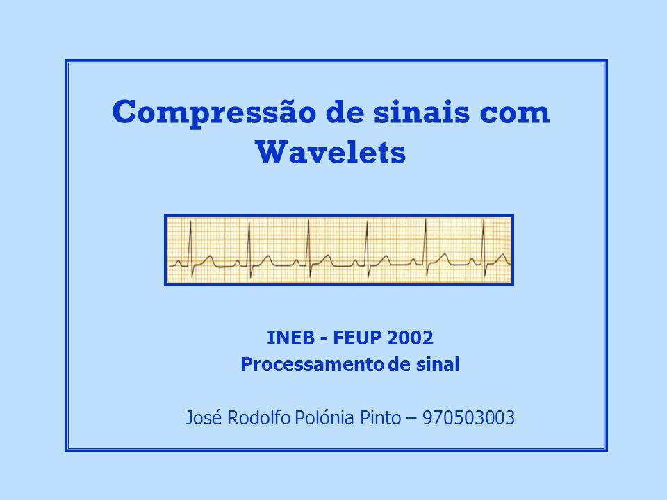 Resultados Experimentais para diferentes níveis de Threshold aplicados aos detalhes Compressão de Sinais com Wavelets José Rodolfo Pinto, INEB-FEUP 2002 Resultados: Wavelet – Coiflets 3 Ordem = 4 Original Recuperado Erro Recuperado Erro Recuperado Threshold: 0.1 Factor de Compressão: 73% Threshold: 0.3 Factor de Compressão: 78% Threshold: 0.5 Factor de Compressão: 82% Threshold: 0.7 Factor de Compressão: 84% Threshold: 0.8 Factor de Compressão: 84%