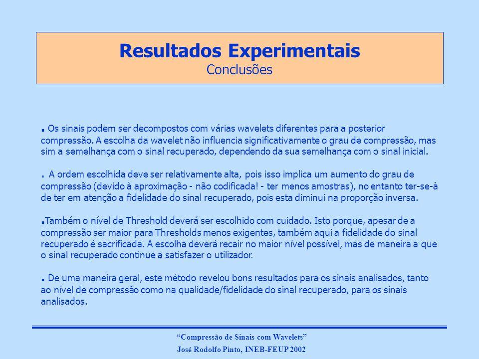 Resultados Experimentais Conclusões Compressão de Sinais com Wavelets José Rodolfo Pinto, INEB-FEUP 2002.