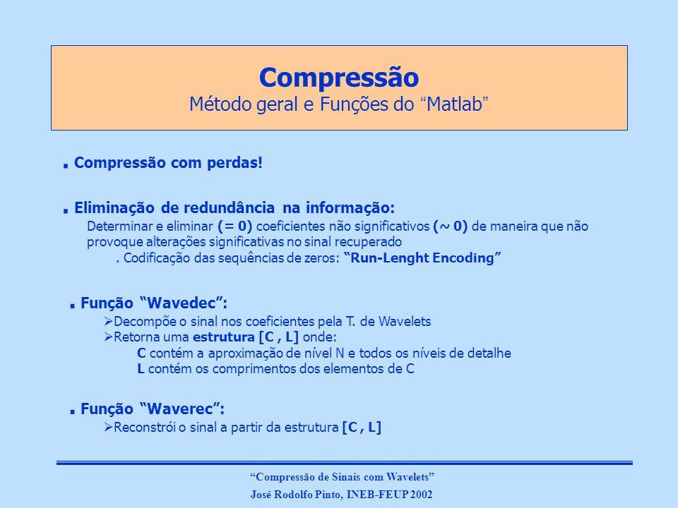 Compressão Método geral e Funções do Matlab. Compressão com perdas!.