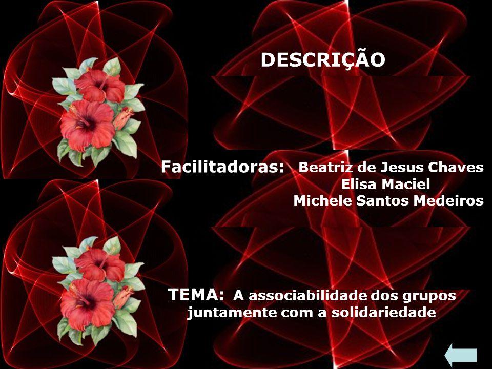 DESCRIÇÃO Facilitadoras: Beatriz de Jesus Chaves Elisa Maciel Michele Santos Medeiros TEMA: A associabilidade dos grupos juntamente com a solidariedade