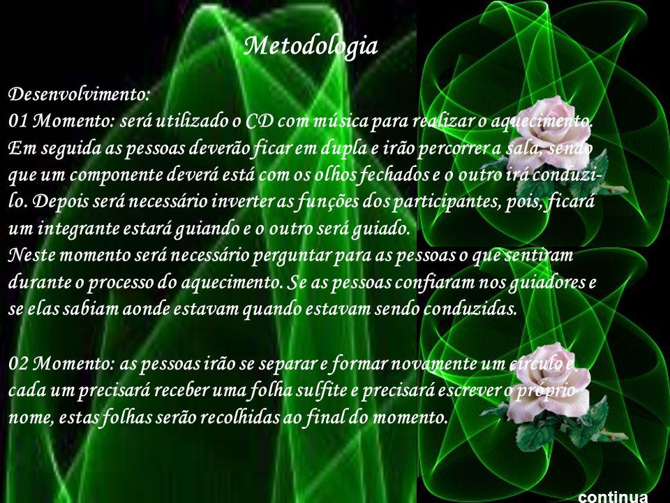 Metodologia Desenvolvimento: 01 Momento: será utilizado o CD com música para realizar o aquecimento.