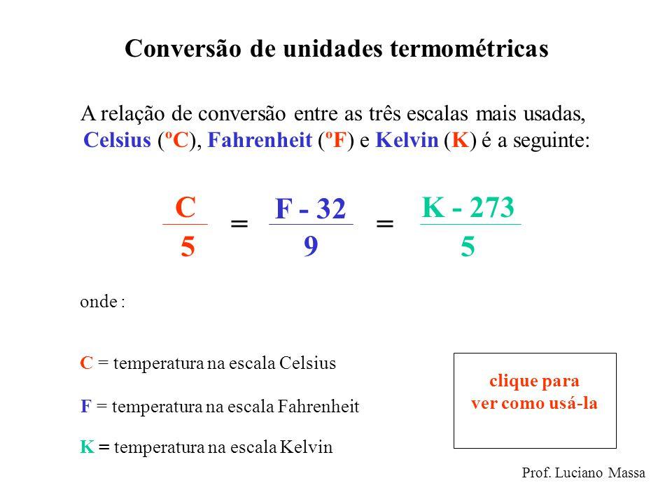 Conversão de unidades termométricas A relação de conversão entre as três escalas mais usadas, Celsius (ºC), Fahrenheit (ºF) e Kelvin (K) é a seguinte: