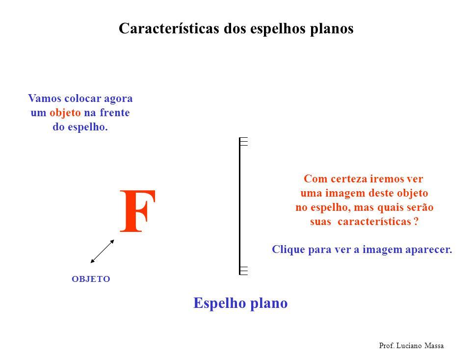 Espelho plano Características dos espelhos planos Prof. Luciano Massa Veja aparecer ao lado a representação de um espelho plano (Os risquinhos represe