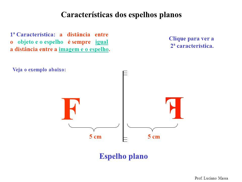 Espelho plano Características dos espelhos planos Prof. Luciano Massa Vamos colocar agora um objeto na frente do espelho. F OBJETO IMAGEM Agora clique