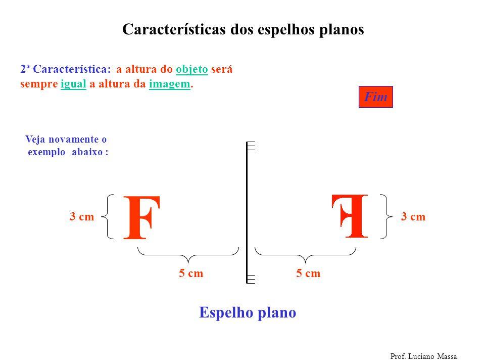Espelho plano Características dos espelhos planos Prof. Luciano Massa F 1ª Característica: a distância entre o objeto e o espelho é sempre igual a dis
