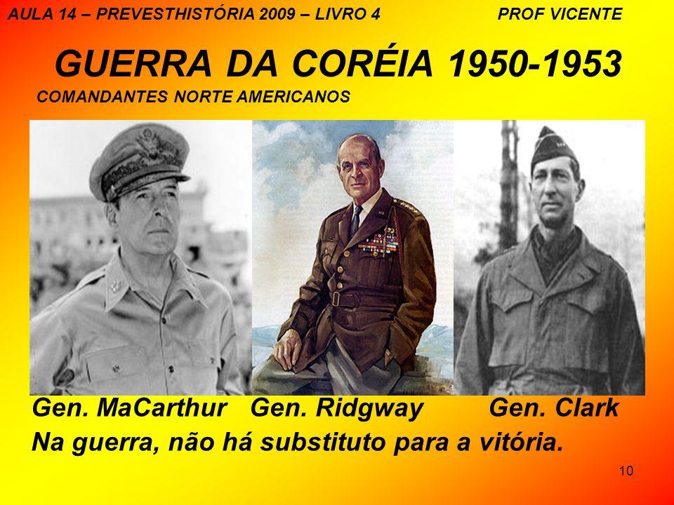 10 GUERRA DA CORÉIA 1950-1953 Gen. MaCarthur Gen. Ridgway Gen. Clark Na guerra, não há substituto para a vitória. AULA 14 – PREVESTHISTÓRIA 2009 – LIV
