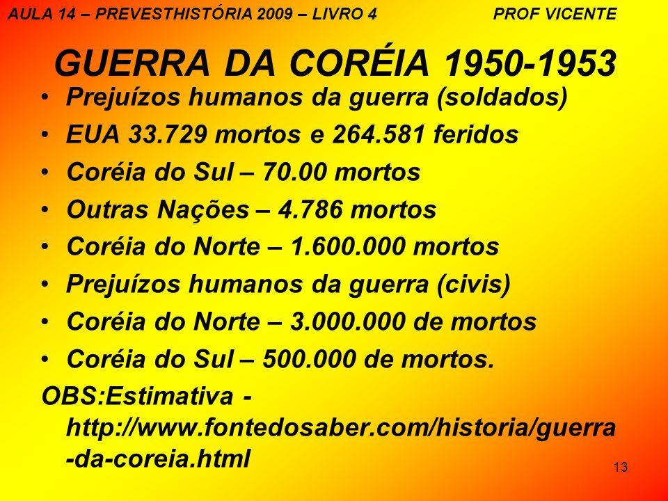 13 GUERRA DA CORÉIA 1950-1953 Prejuízos humanos da guerra (soldados) EUA 33.729 mortos e 264.581 feridos Coréia do Sul – 70.00 mortos Outras Nações –