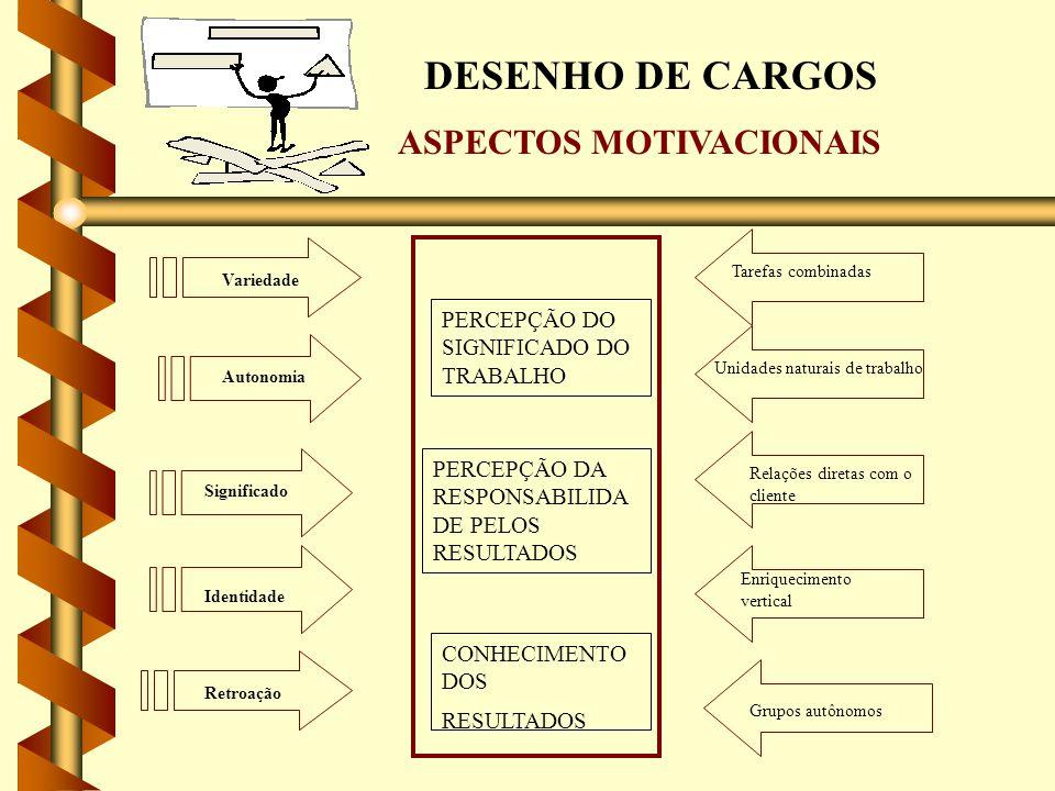 DESENHO DE CARGOS ASPECTOS MOTIVACIONAIS PERCEPÇÃO DO SIGNIFICADO DO TRABALHO PERCEPÇÃO DA RESPONSABILIDA DE PELOS RESULTADOS CONHECIMENTO DOS RESULTA