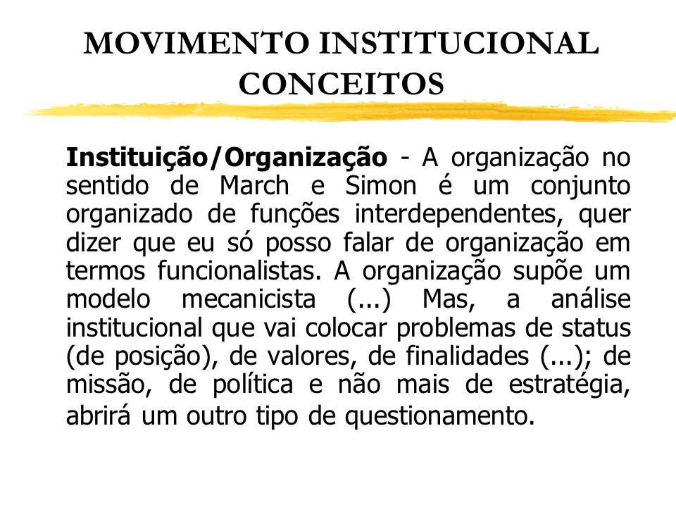 MOVIMENTO INSTITUCIONAL CONCEITOS Instituição/Organização - A organização no sentido de March e Simon é um conjunto organizado de funções interdepende