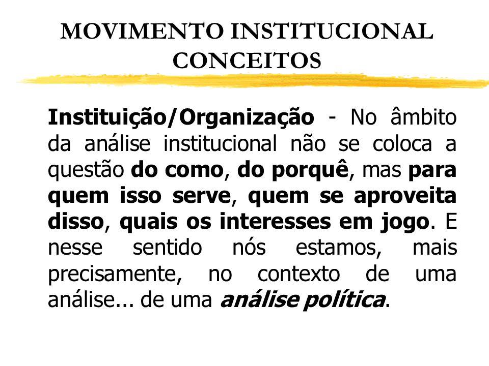 MOVIMENTO INSTITUCIONAL CONCEITOS Instituição/Organização - No âmbito da análise institucional não se coloca a questão do como, do porquê, mas para qu