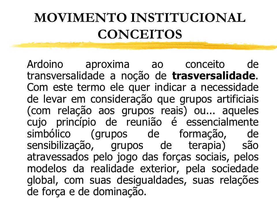 MOVIMENTO INSTITUCIONAL CONCEITOS Ardoino aproxima ao conceito de transversalidade a noção de trasversalidade. Com este termo ele quer indicar a neces