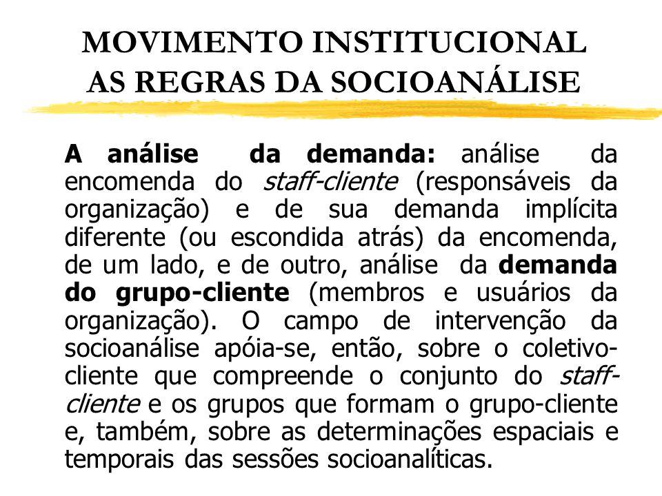 MOVIMENTO INSTITUCIONAL AS REGRAS DA SOCIOANÁLISE A análise da demanda: análise da encomenda do staff-cliente (responsáveis da organização) e de sua d