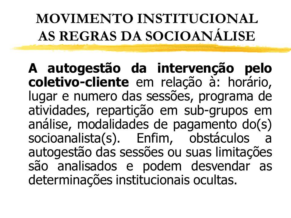MOVIMENTO INSTITUCIONAL AS REGRAS DA SOCIOANÁLISE A autogestão da intervenção pelo coletivo-cliente em relação à: horário, lugar e numero das sessões,