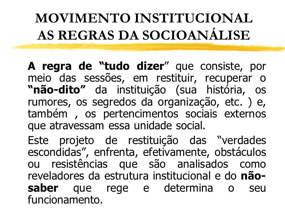 MOVIMENTO INSTITUCIONAL AS REGRAS DA SOCIOANÁLISE A regra de tudo dizer que consiste, por meio das sessões, em restituir, recuperar o não-dito da inst